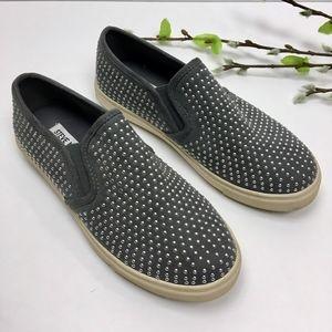 STEVE MADDEN Gray Silver Studded Loafers Size 6.5